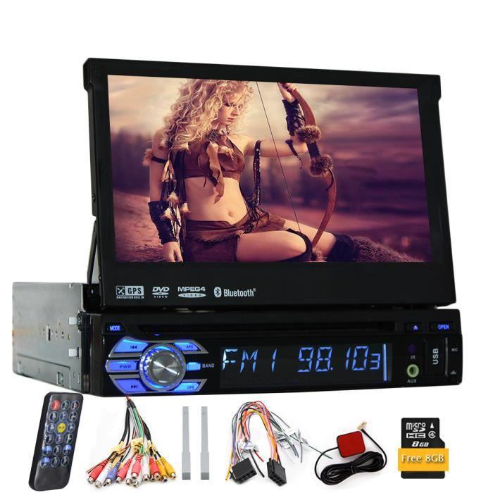 EINCAR AUTORADIO 7 pouces voiture 1din simple Autoradio stéréo avec écran de navigation GPS amovible Panneau HD tactile numérique