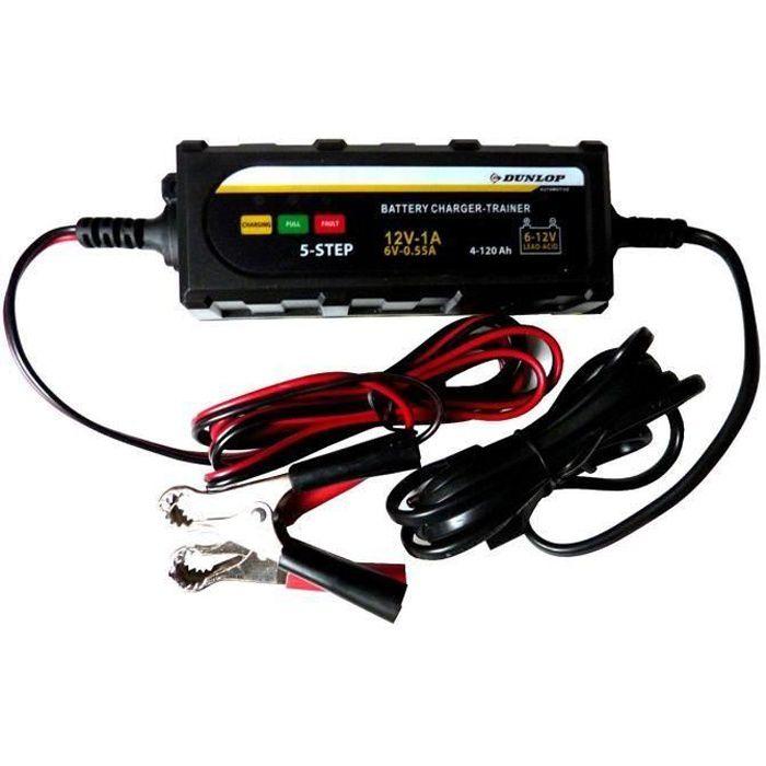 DUNLOP Chargeur de Batterie Intelligent 6/12V avec 5 niveaux Temoin LED - Voiture et Moto 304
