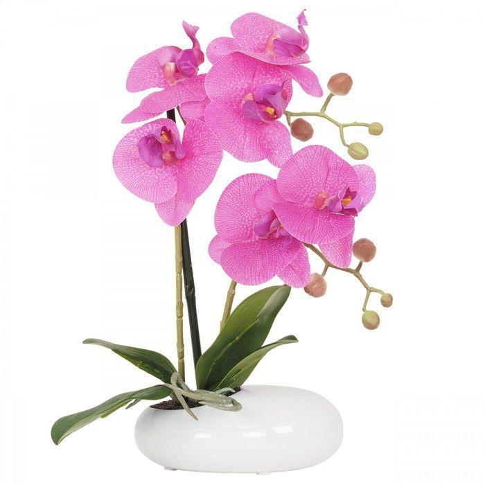 Orchidée fuchsia artificielle en coupe céramique blanche 36 cm, composition fleurie artificielle, Ligne Déco