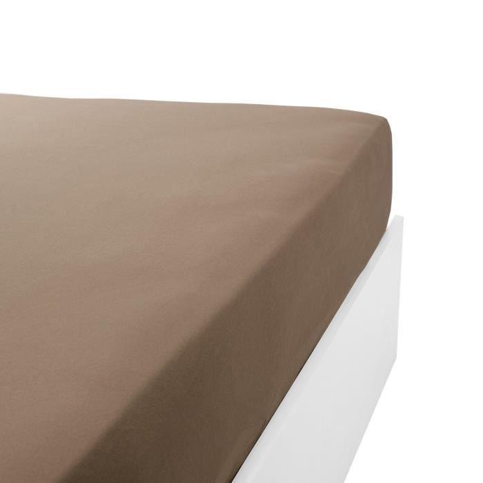 LINANDELLE - Drap housse coton jersey extensible DOUCEUR - Marron - 140x190 cm