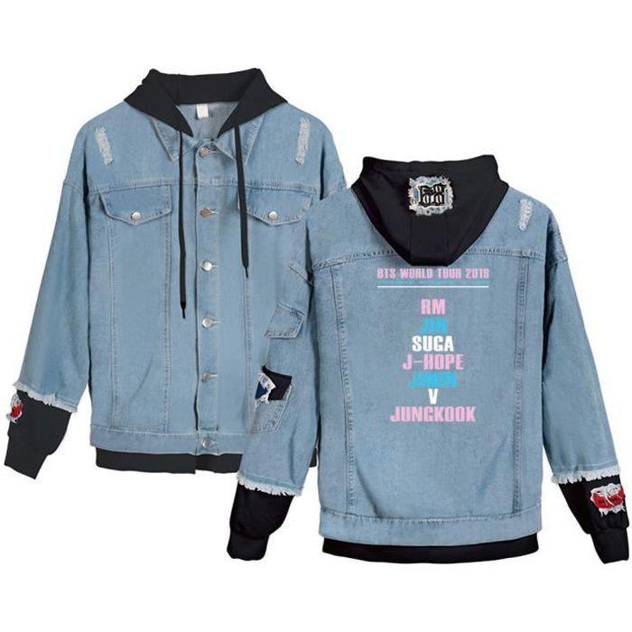 Homme Veste à Capuche Coupe-Vent Blouson Mode Blouson Loisirs BTS Star avec Le Même Veste Jacket Bleu