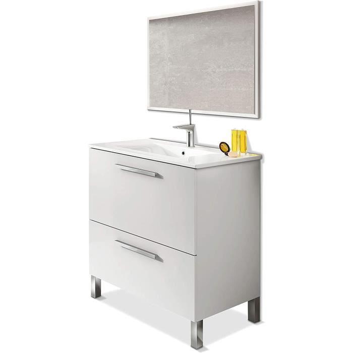 Meuble salle de bain 80 cm + 1 Miroir coloris blanc brillant - Longueur 80 x Hauteur 80 x Profondeur 45 cm