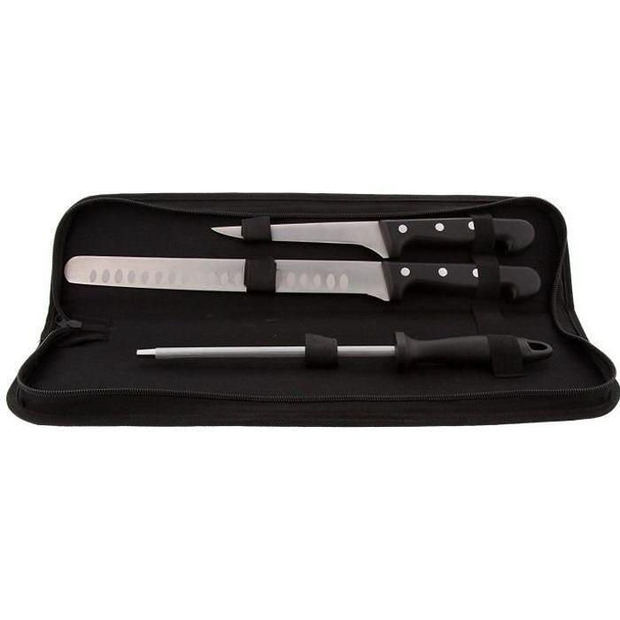 Set de Découpe pour Jambon, Acier Inoxydable, Noir, 47 x 11,5 x 5 cm Pradel excellence