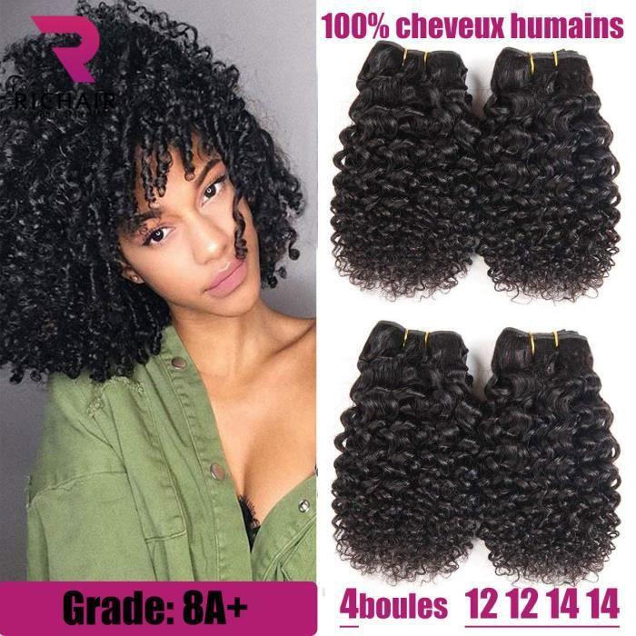 4 tissage bresilien boucle 8A 12+12+14+14pouces en vierges en lot 50g/p kinky curly vrais cheveux court mèches RICHAIR Prix d'usine