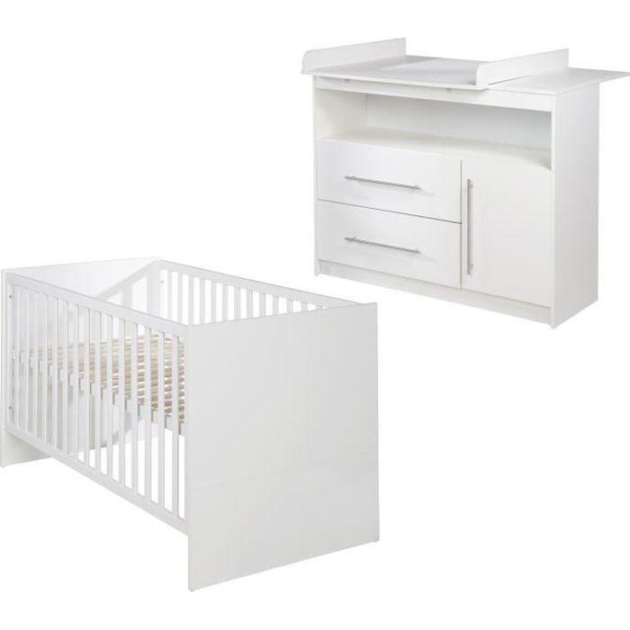 ROBA Ensemble chambre bébé -Maren- – lit bébé 70x140 cm et commode à langer