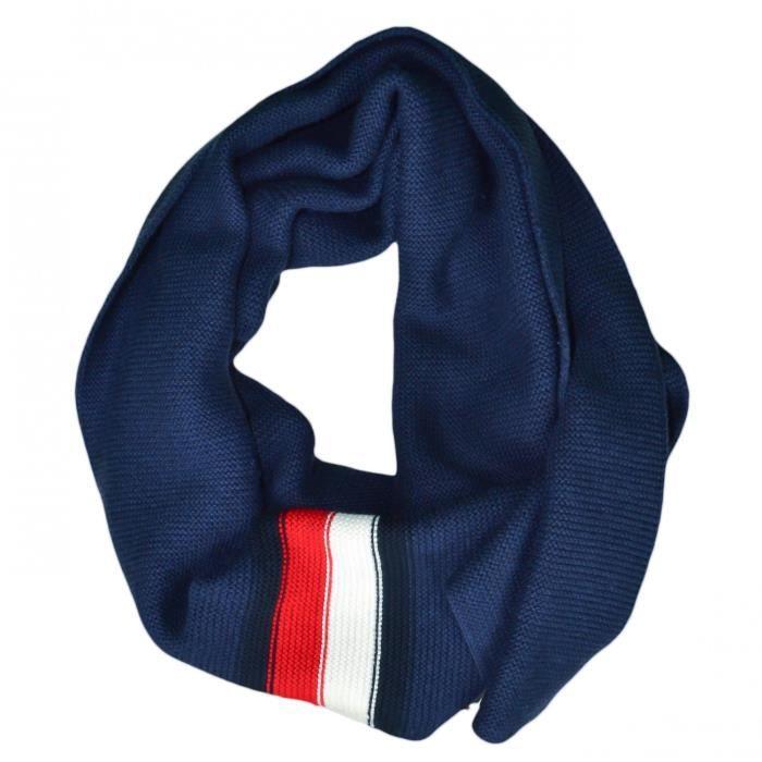 Echarpe Tommy Hilfiger bleu marine bandes bleu blanc rouge pour homme - Couleur: Bleu - Taille: TU
