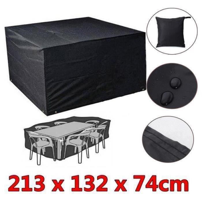 BO16842-Housse de meuble de jardin 213x132x74cm imperméable pliage extérieur couverture bâche de table chaise D03EC