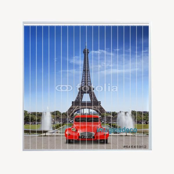 photo store californien avec motif tour effel et 2 cv achat vente store de fen tre. Black Bedroom Furniture Sets. Home Design Ideas