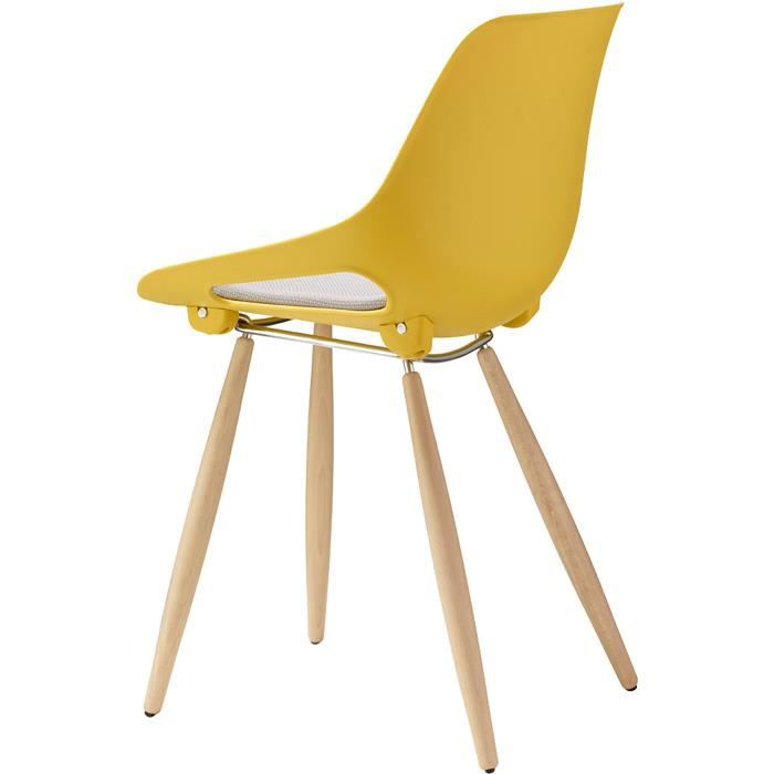 lot de 2 chaises bois scandinave jaune achat vente chaise jaune cdiscount. Black Bedroom Furniture Sets. Home Design Ideas