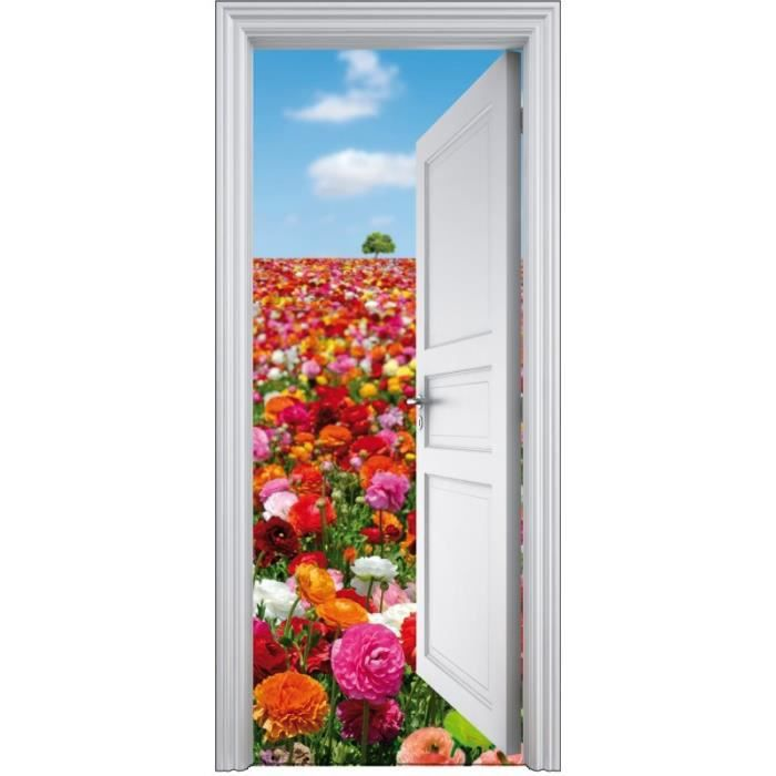 Sticker porte trompe l 39 oeil d co fleurs 90x200cm achat for Decoration porte interieure poster sticker