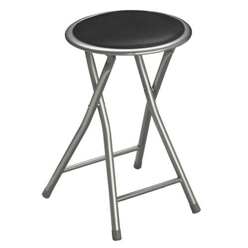 tabouret pliant assise ronde noir pvc 45cm achat vente tabouret cdiscount. Black Bedroom Furniture Sets. Home Design Ideas