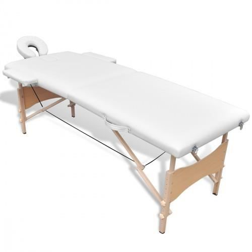 Table de massage pliante en bois 2 zones blanc achat vente table de massa - Table pliante massage ...