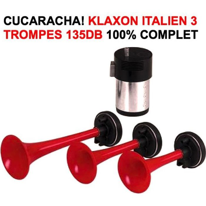tour de france cucaracha klaxon italien 3 trompes 12v 135db raid preparation 4x4 achat. Black Bedroom Furniture Sets. Home Design Ideas