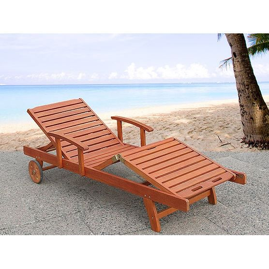 Transat en bois chaise longue inclinable toscana for Transat en bois pliable