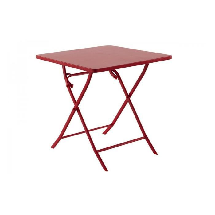 Table m tal carree greensboro rouge hesperide achat for Table exterieur hesperide