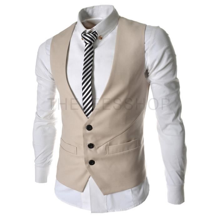homme veste costume veste beige achat vente gilet de costume cdiscount. Black Bedroom Furniture Sets. Home Design Ideas