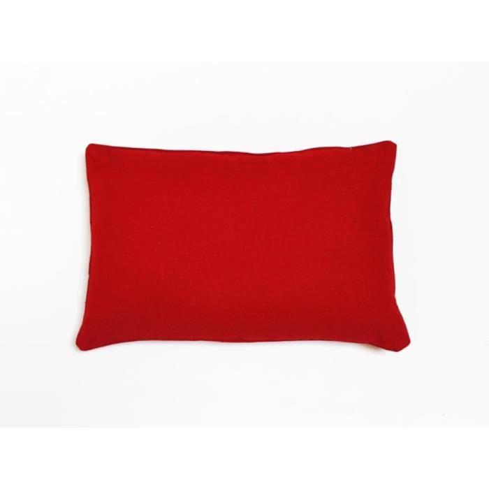 COUSSIN Coussin déco 30x50 cm en coton PANAMA rouge