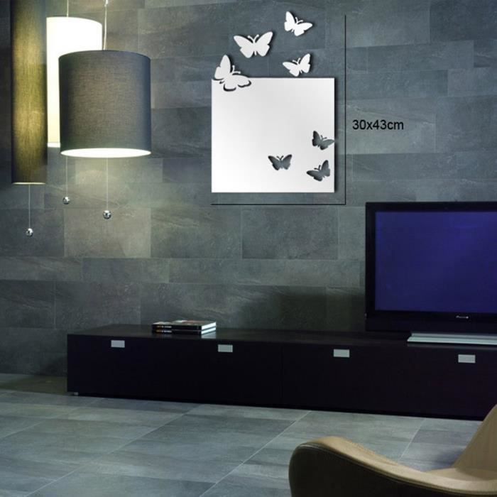 art de mur de miroir carr papillon achat vente. Black Bedroom Furniture Sets. Home Design Ideas