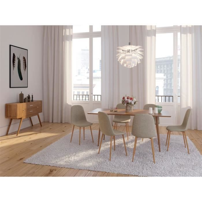 lot de 6 chaises design m tal scandinave taupe 45x55xh85cm achat vente chaise cdiscount. Black Bedroom Furniture Sets. Home Design Ideas