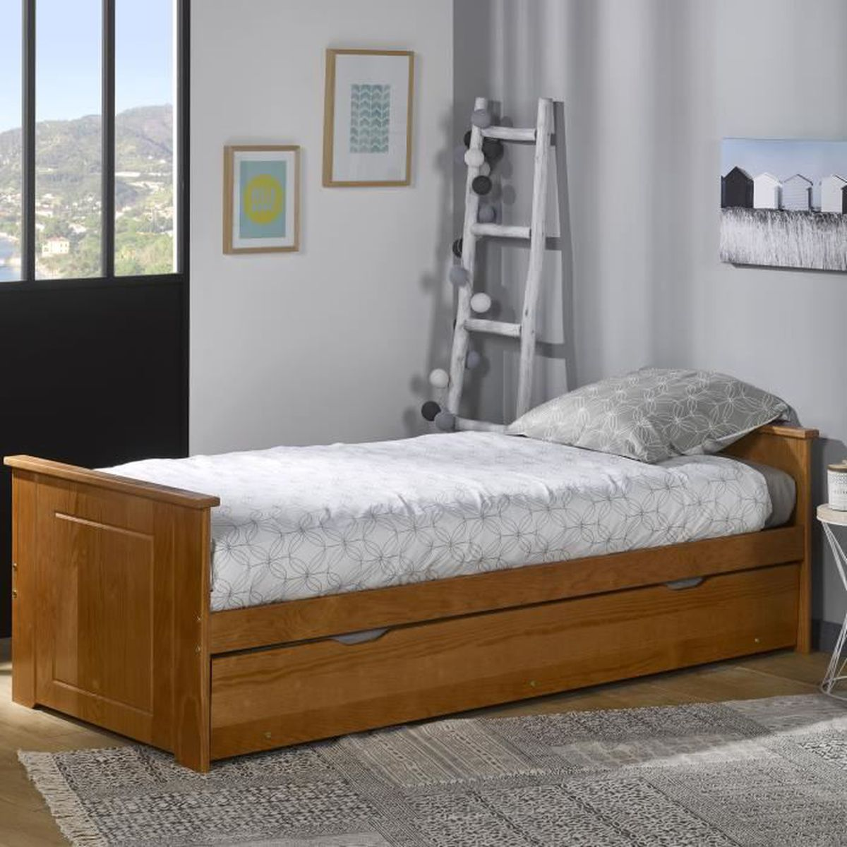 cheap lit gigogne matelas x bois miel with lit gigogne chez but. Black Bedroom Furniture Sets. Home Design Ideas