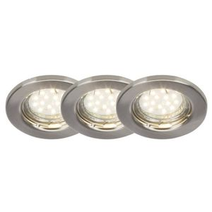 BRILLIANT Kit de 3 spots encastrable fixes Classic LED diam?tre 8 cm GU10 3W acier