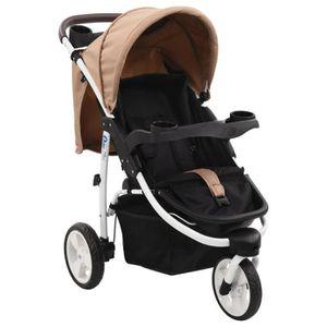 POUSSETTE  CESAR Poussette bébé à 3 roues Taupe et noir