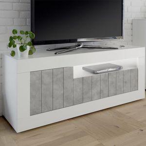 MEUBLE TV Meuble TV blanc et effet béton gris moderne MABEL
