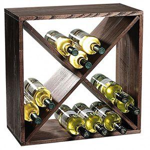 MEUBLE RANGE BOUTEILLE Etagère carré pour bouteilles à vin - 4 compartime