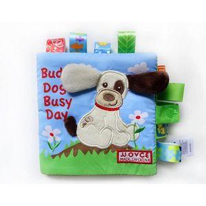 LIVRE D'ÉVEIL Livre Bébé d'Activités en Tissu Animal Chien Angla