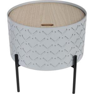 BOUT DE CANAPÉ Bout de canapé avec coffre - Gris - L 35 x P 35 x