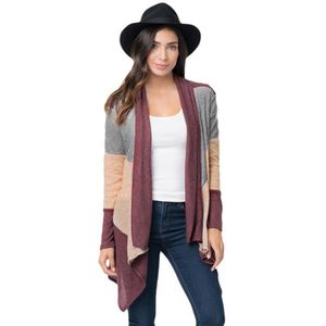 PONCHO Gilet Poncho Femme Patchwork Automne-Hiver Casual