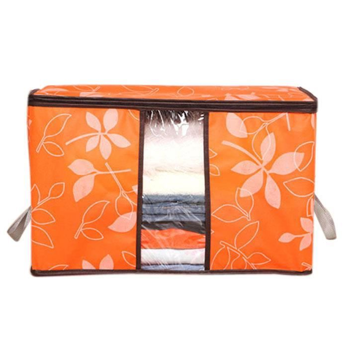 075051306OG@Organisation d'entreposage - Sacs de rangement à empiècements imprimés à fleurs de designer orange