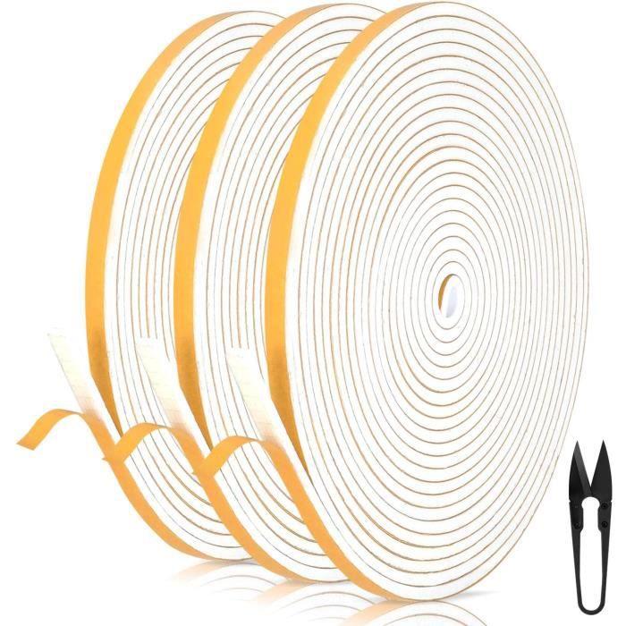 Mousse Bande de Joint D'étanchéité en Caoutchouc 6 mm (l) * 3 mm (H) * 18 m (L) Avec des Ciseaux * 1,Bandes de Joint Auto-adhésives