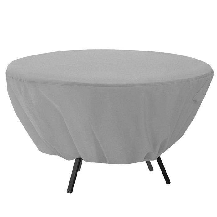 Housse de table ronde Couvre-meubles de jardin patio imperméable extérieur (gris)