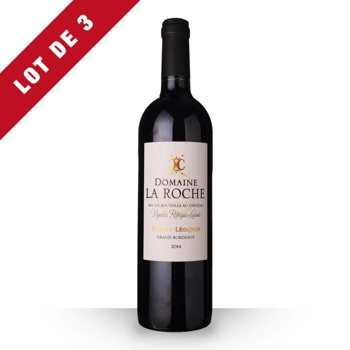 3X Domaine la Roche 2014 Rouge 75cl AOC Pessac-Léognan - Vin Rouge
