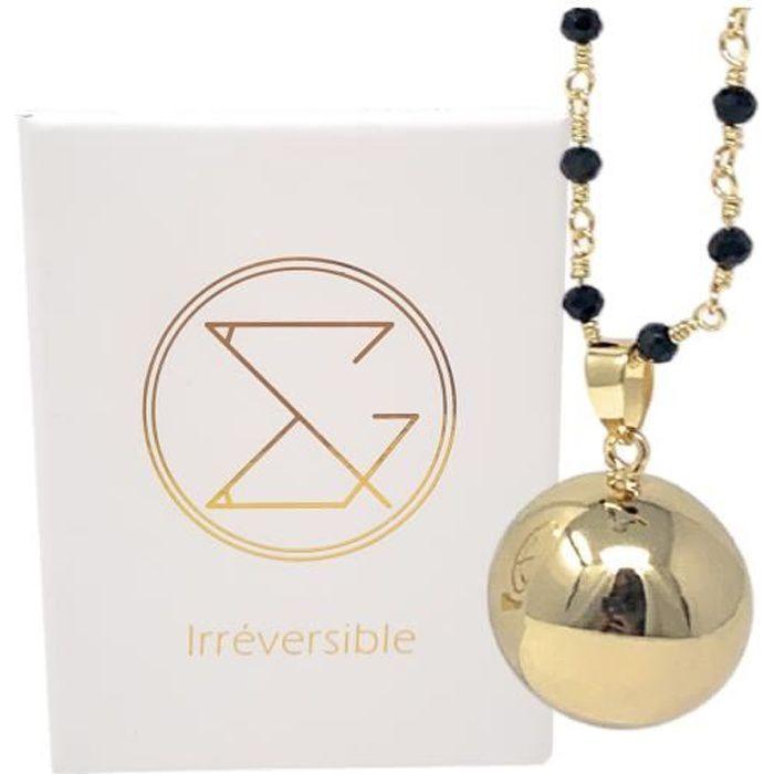 Bola de grossesse or lisse avec chaîne - CHARLOTTE (Chaine perlée/cristal noir) - plaquée or - coffret cadeau femme enceinte