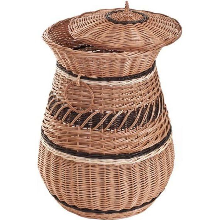 Panier à linge en osier, coffre ronde en osier ,corbeille à linge