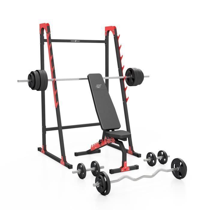 Marbo Sport Set MH8 155KG KIER - Banc de musculation + support d'haltères + jeu de barres de poids / plaques de poids 113 kg