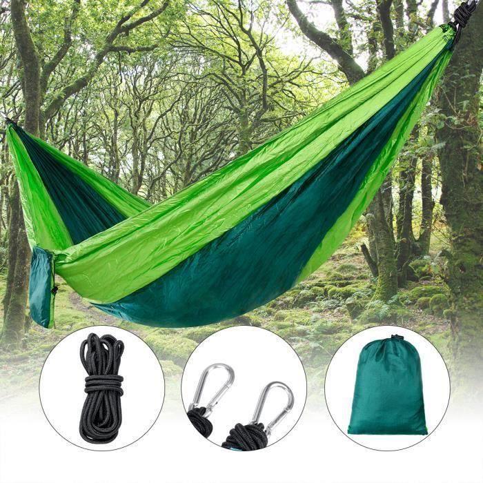 Hamac Suspendus Lit de Couchage Portable Camping Parachute Voyage avec Corde à Crochet Vert Aw18738