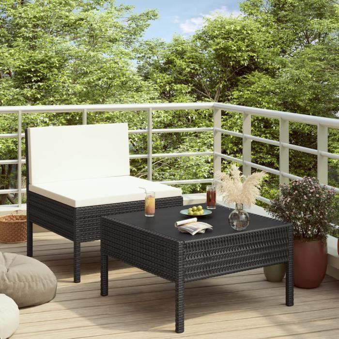 Meilleures Ventes Salon de jardin Mobilier de jardin Ensemble balcon Salon bas de jardin 2 pcs avec coussins Résine tressée Noir®EDN