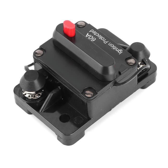 Drfeify Disjoncteur AMP Disjoncteur 60A AMP Support de Réinitialisation de Fusible 12‑48V DC Étanche pour Auto RV Yacht