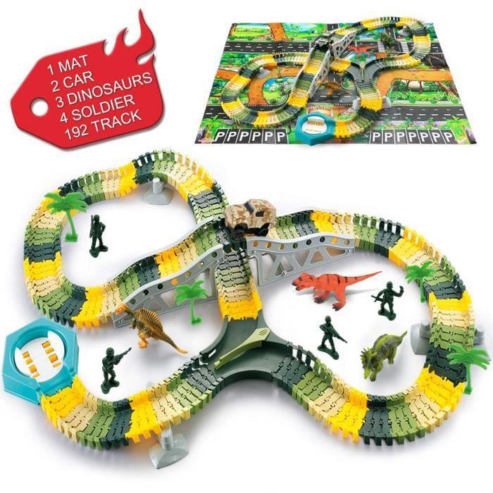 Circuit Voiture Dinosaure Flexible Electrique Jouet, pour Cadeau Jeux Educatif Garcon Fille Enfant