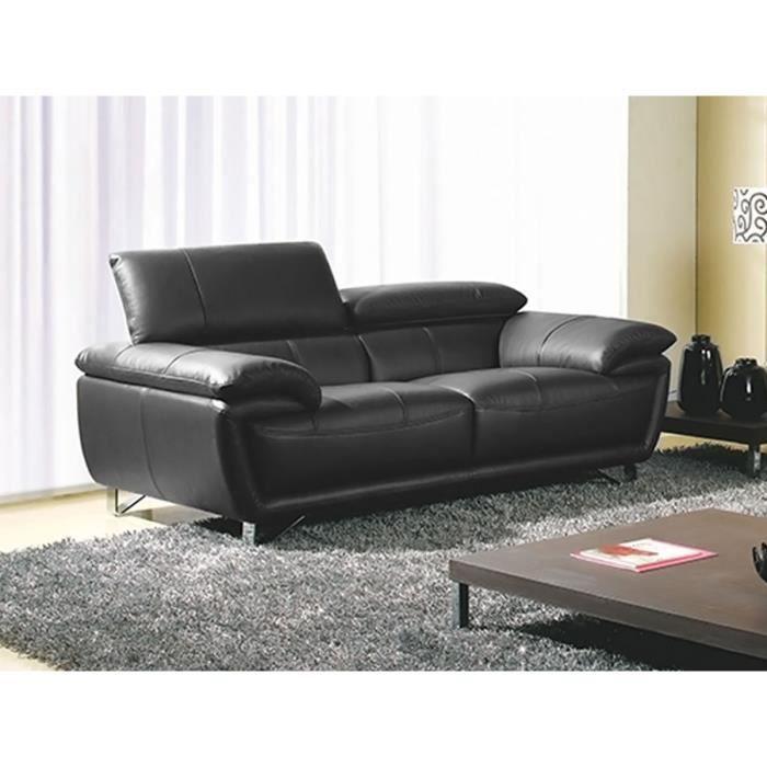 Canapé 2 places en cuir noir BAYA
