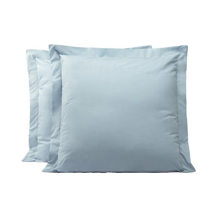 LINANDELLE - Lot de 2 taies d'oreillers coton percale 200 fils DESIREE - Bleu - 65x65 cm