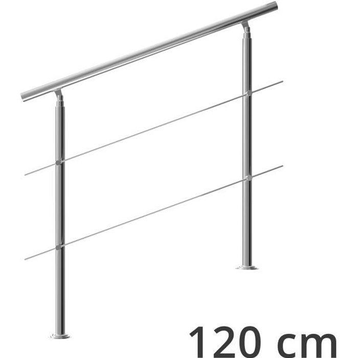 Rampe d'escalier 120 cm acier inoxydable 2 traverses main courante balustrade garde-corps aide escalier balcon intérieur extérieur