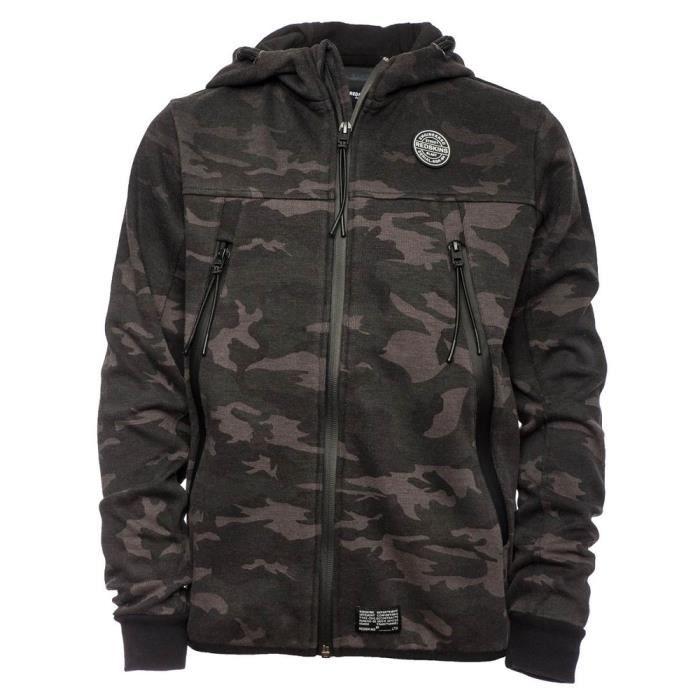 REDSKINS-KIRKTON-SWEAT CAPUCHE-black camouflage-GARCON