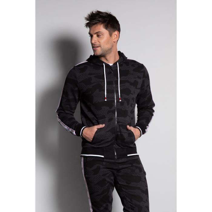 Sweat zippé camouflage à capuche TROOP - Black