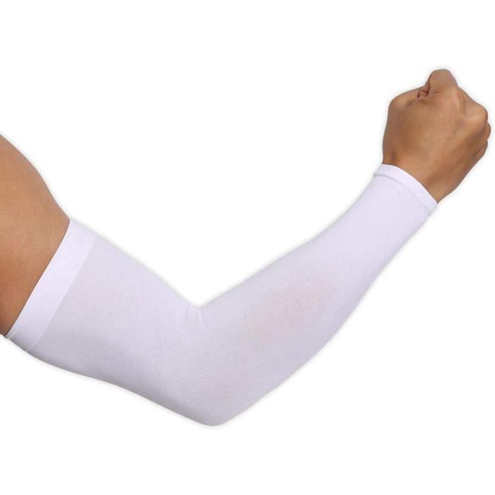 Manche de Bras de Protection UV,1 Paire Manche de Bras Respirante Manchettes,Manchons de Glace Adaptés au Sport ---- Blanc (M:36cm)