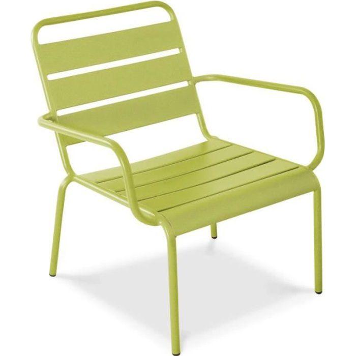 Fauteuil de jardin bas en métal - Chaise relax pour terrasse - Collection Palavas