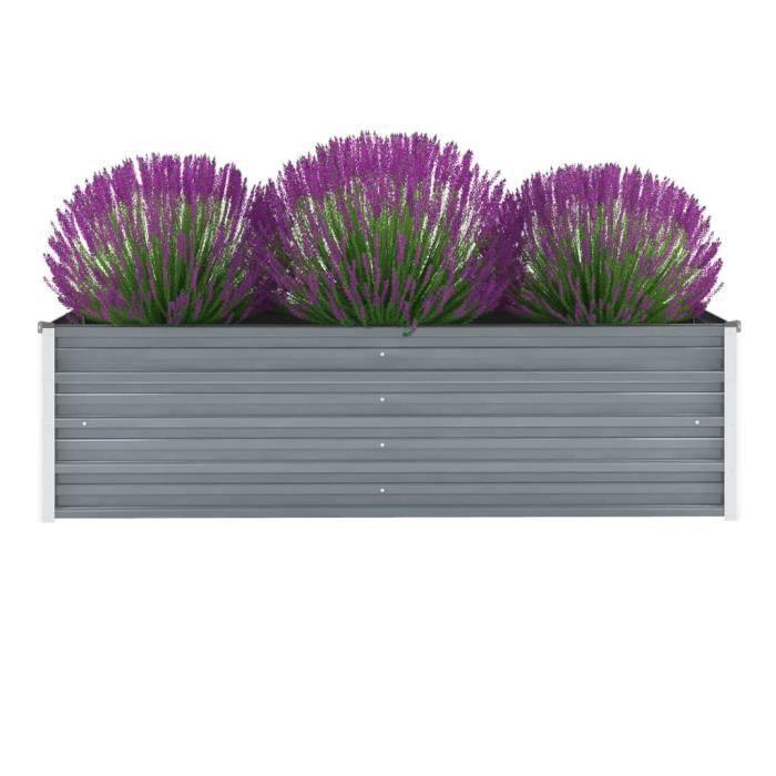 Jardinière Acier galvanisé 160 x 40 x 45 cm Gris